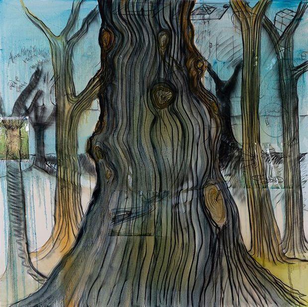 Bois, 2008-09 Technique mixte, collages punaisés et résine sur toile Signée, datée et titrée au dos 200 × 200 cm Don de Nicole et Jean-Claude Marian