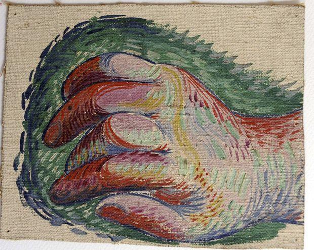Une étude de main peinte sur toile, par Pablo Picasso.