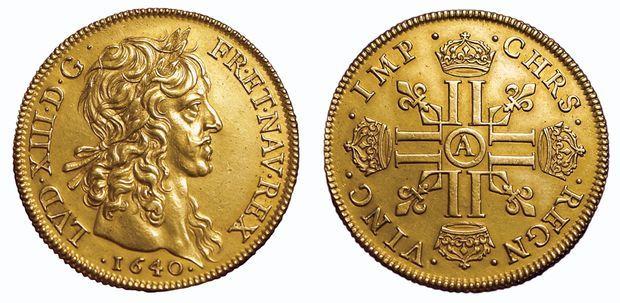 Rarissime monnaie de plaisir pour Louis XIII de Quatre Louis en or de l'atelier de Paris, 1640