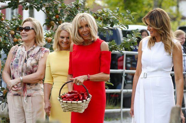 Récolte de piments d'Espelette, dimanche, pour Brigitte Macron, Melania Trump, Cecilia Morel et Malgorzata Tusk.