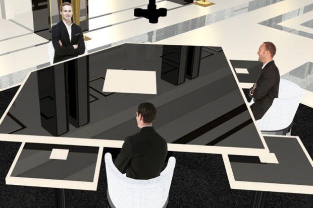 Simulation du plateau de l'interview au théâtre national de Chaillot.