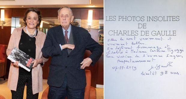 """Pour notre grand reporter, ce furent de chaleureuses retrouvailles. « Enfant, j'habitais avenue Ingres et je croisais souvent la longue silhouette de Philippe de Gaulle. Mon père, Henri Théodore Pigozzi, avait construit l'une des voitures officielles du Général, la Présidence. Puis mon métier m'a amenée à le revoir assez régulièrement. L'autre jour, je suis allée lui apporter """"Les photos insolites de Charles de Gaulle"""", écrit avec Philippe Goulliaud. »"""