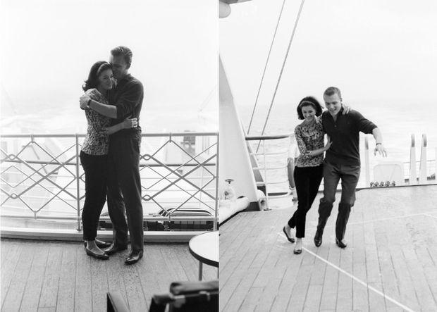 """Les années bonheur : en février 1962, le baron Edouard-Jean Empain et son épouse la baronne Sylvana, lors de la première traversée transatlantique du paquebot """"France""""."""