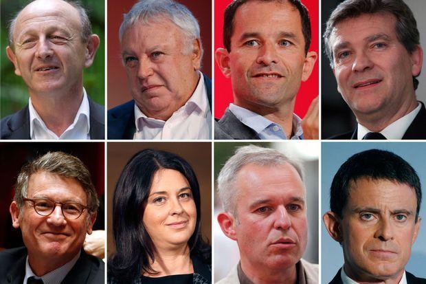 Huit des neuf candidats. De haut en bas : Jean-Luc Bennahmias, Gérard Filoche, Benoît Hamon, Arnaud Montebourg, Vincent Peillon, Sylvia Pinel, François de Rugy et Manuel Valls