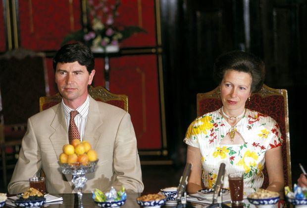 La princesse Anne et son second époux Timothy Laurence en Ouzbékistan en juillet 1993.