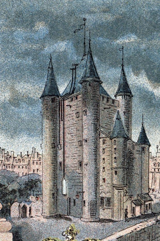 """Gravure de 1889 :                         """"Vue de la prison du Temple a Paris à                         l'époque de la détention de la reine de France                         Marie-Antoinette"""""""