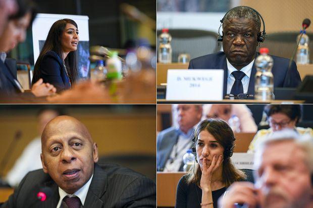 Patricia Gutierrez, Denis Mukwege, Guillermo Fariñas et Nadia Murad Basee Taha.