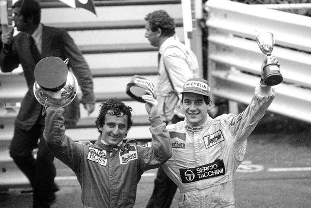 Ayrton Senna et Alain Prost à Monaco le 3 juin 1984.