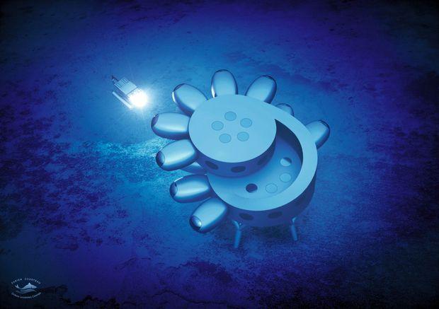 Dessinée par le designer suisse Yves Béhar, cette base d'exploration de 370 mètres carrés accueillera 12 aquanautes