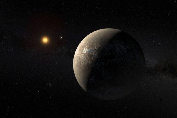 Vue d'artiste de Proxima b en orbite autour de la naine rouge Proxima du Centaure.