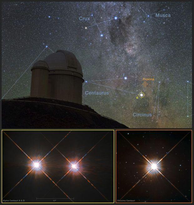 Des images de l'observatoire européen de La Scilla au Chili (en haut), au Chili, et du télescope spatial Hubble (en bas)