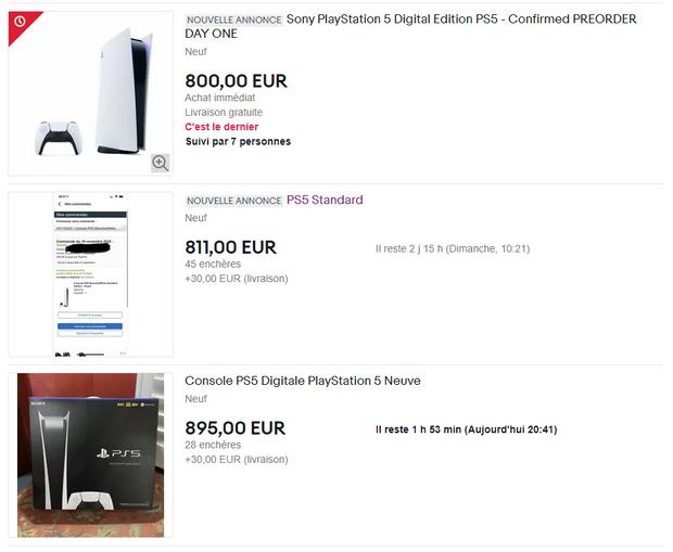 Des enchères à plus de 800 euros pour la PS5.