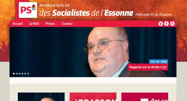 Page d'accueil de la fédération socialiste de l'Essonne. Il ne s'est rien passé sur le site depuis six mois.