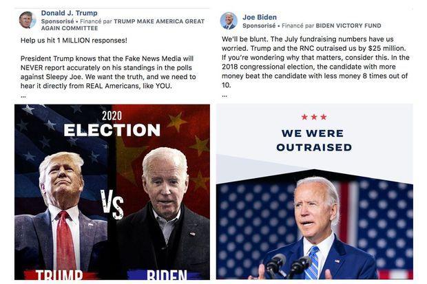 Une publicité diffusée par Donald Trump, où Joe Biden est montré devant un drapeau chinois, et une publicité de Joe Biden appelant aux dons.