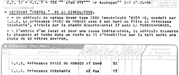 Le procès-verbal de l'enquête de la gendarmerie sur l'accident. Il précise bien que Grace conduisait le véhicule.