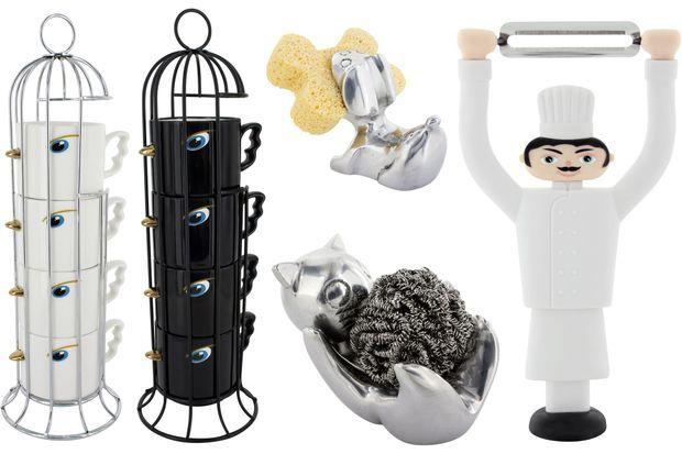 Quelques best-sellers de la marque: le set de mugs Tweet Express, les porte-éponges chats et chiens, l'épluche-légumes Chef.