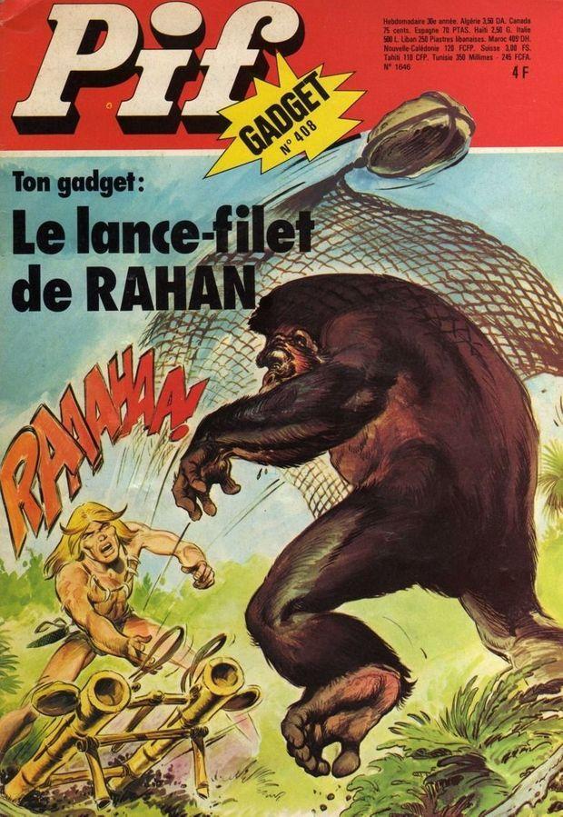 Rahan à la Une avec son gadget, le lance-filet.