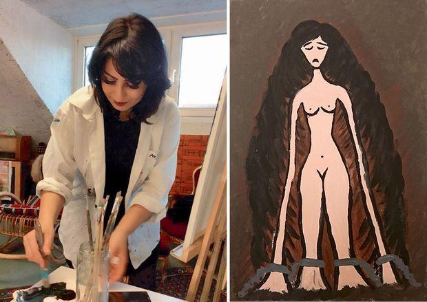 Rana dans l'atelier d'un peintre qui a reçu des réfugiés. Et le tableau qu'elle a peint