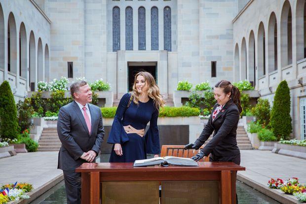 La reine Rania et le roi Abdallah II de Jordanie à Canberra en Australie, le 24 novembre 2016