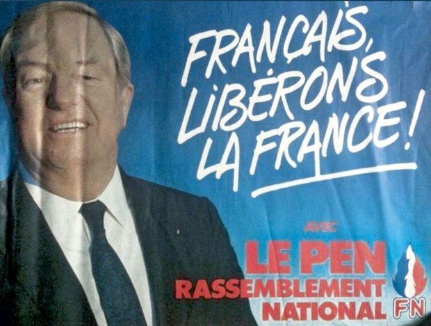 """Le """"Rassemblement national"""", déjà évoqué sur une affiche de Jean-Marie Le Pen en 1986."""