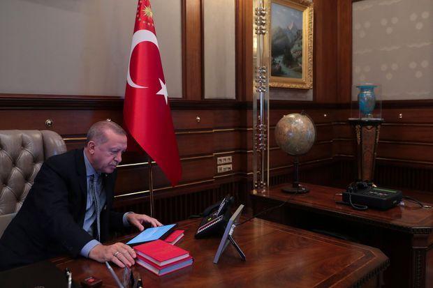 Recep Tayyip Erdogan mercredi au palais présidentiel, à Ankara.