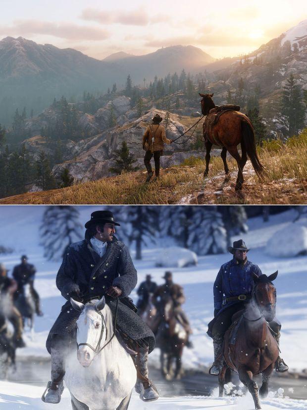 """Deux images extraites de """"Red Dead Redemption 2""""."""