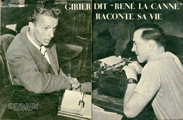 """« Pendant soixante heures """"René la Canne"""" et Gérard Lemoine, officier de police à la Brigade Volante, se sont ainsi affrontés. Le chef du gang des """"Intellectuels"""" n'a rien avoué, mais ses déclarations ont été suffisantes pour donner ses rivaux , les gangsters du coup de Deauville. » - Paris Match n°26, 17 septembre 1949"""