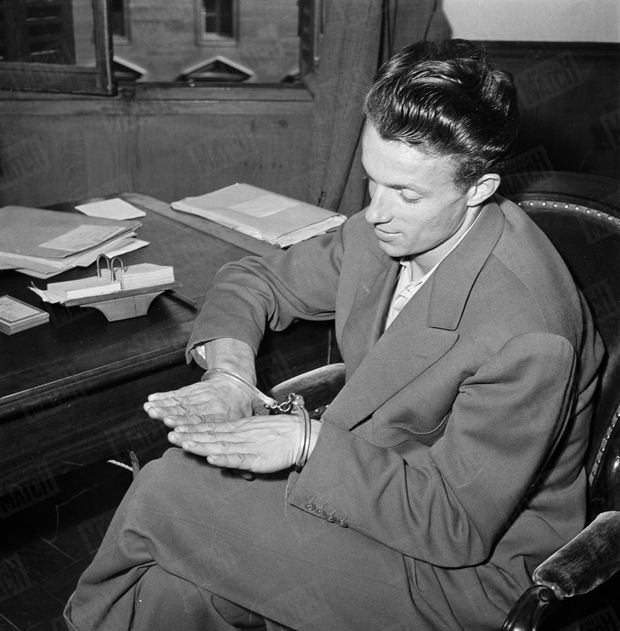 """L'interrogatoire de René """"La Canne"""" par Gérard Lemoine, officier de police à la Brigade Volante, en septembre 1949."""