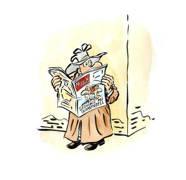 """""""Scandale au Bürgenzell"""" sur ce dessin de René Pétillon pour Paris Match."""