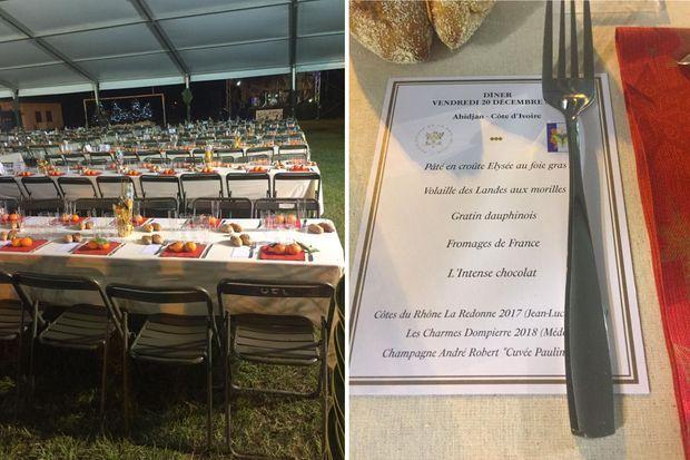Le menu et la table dressée (photos prises vendredi)