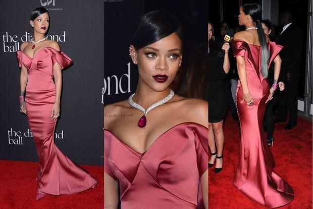 Rihanna en Zac Posen au Diamond Ball, en décembre dernier.