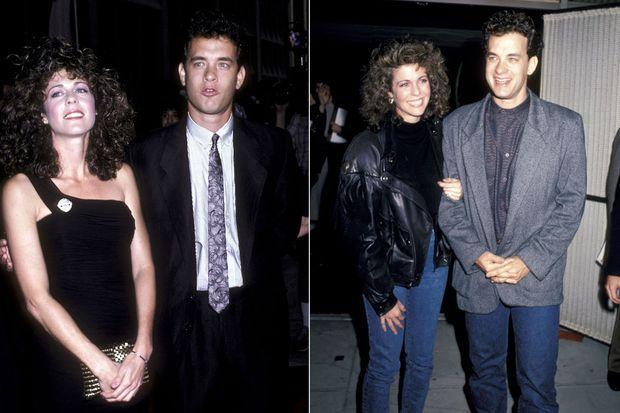 Rita Wilson et Tom Hanks : à gauche en juillet 1986 pour la première de «Nothing in Common», à droite en décembre 1986 pour la première de «Three Amigos»