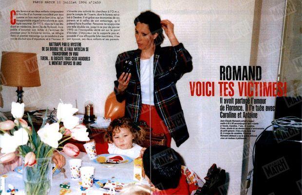 """""""Jean-Claude Romand partait chaque matin à 8h30 accompagner ses enfants à l'école, Caroline, 7 ans, et Antoine, 5 ans, réunis ici au dernier repas d'anniversaire du petit garçon. Il les a tués dans leur lit, à coups de carabine. Florence Romand (debout) a eu le crâne défoncé avec un rouleau à pâtisserie."""" (Paris Match n°2459, daté du 11 juillet 1996)"""