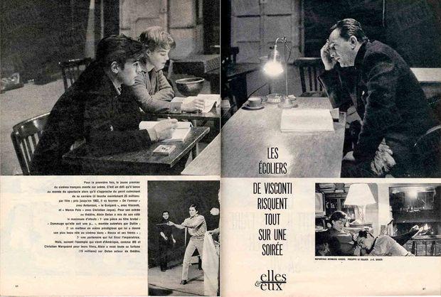 « Les écoliers de Visconti risquent tout sur une soirée » - Paris Match n°620, daté du 25 février 1961.