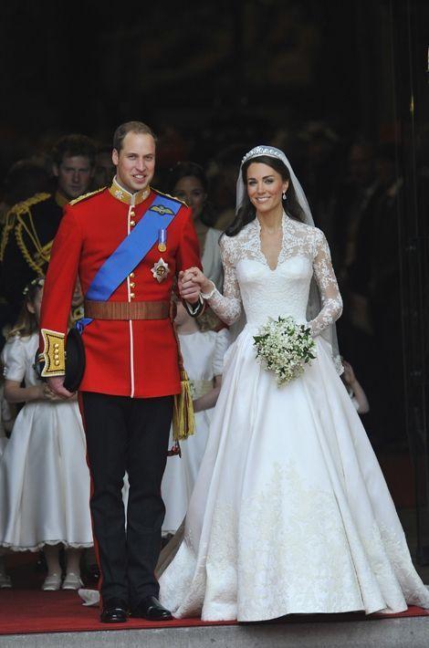 Kate Middleton dans sa robe de mariée Alexander McQueen le 29 avril 2011