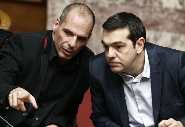Alexis Tsipras et Yanis Varoufakis, le 18 février.
