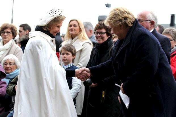 La reine Sonja de Norvège et la Premier ministre norvégienne Erna Solberg