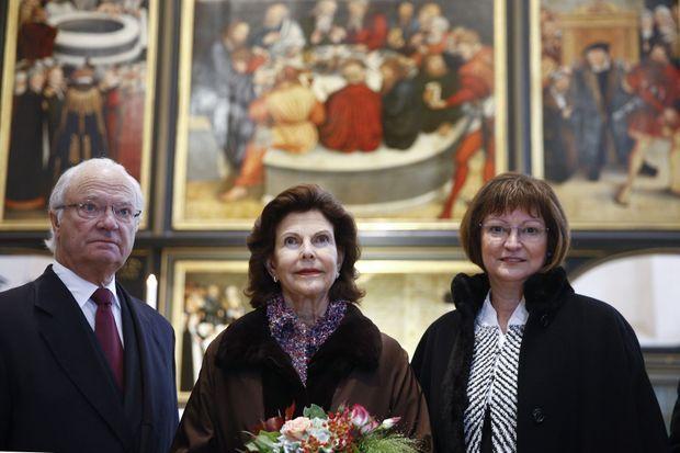 La reine Silvia et le roi Carl XVI Gustaf à Wittenberg, le 8 octobre 2016
