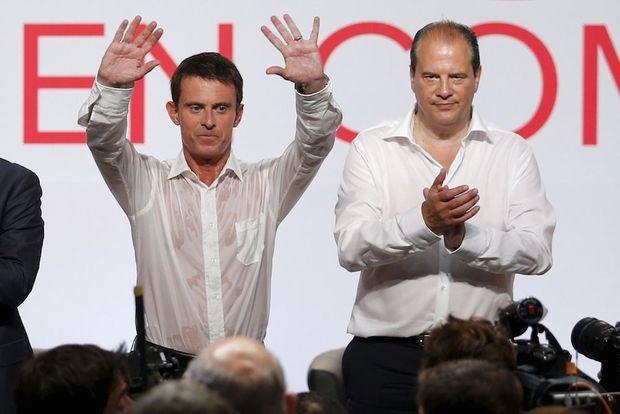 Manuel Valls et Jean-Christophe Cambadélis à l'université du PS en août 2015 à La Rochelle.