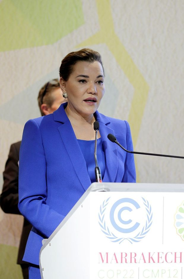 La princesse Lalla Hasna du Maroc lors de la Journée de l'éducation à la COP22 à Marrakech, le 14 novembre 2016