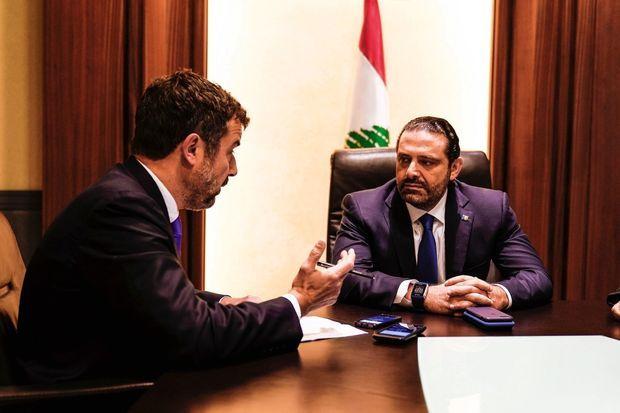 Saad Hariri avec Régis Le Sommier, directeur adjoint de la rédaction.