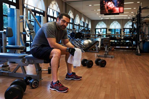 Saad Hariri chez lui, dans la salle de sport où il s'entraîne chaque matin.