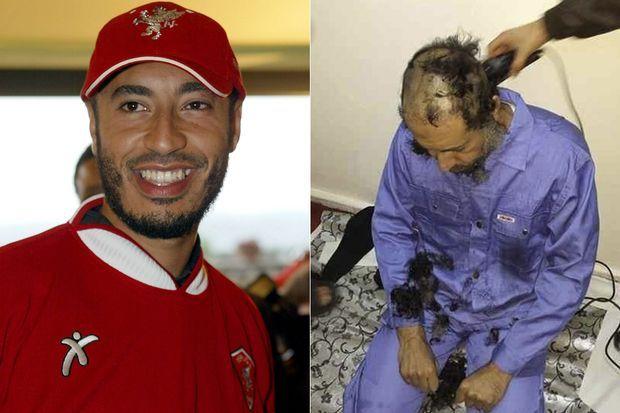 A gauche: Saadi Kadhafi en 2003, dans son club de Pérouse. A droite: jeudi, à son arrivée en Libye.