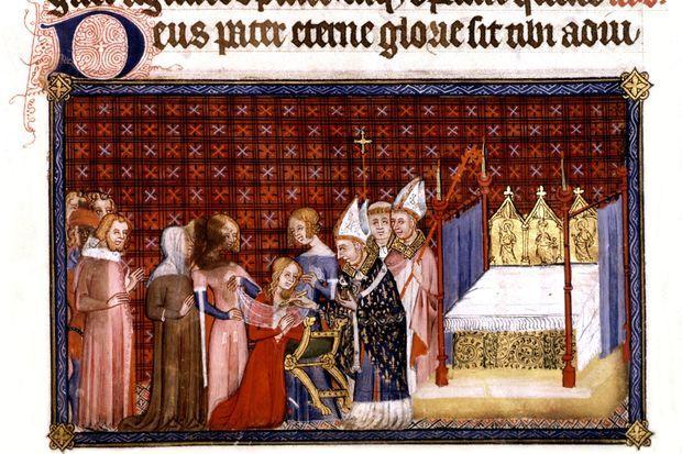 Couronnement de Charles V et Jeanne de Bourbon. Anonyme. XIVe siècle (London. British museum)