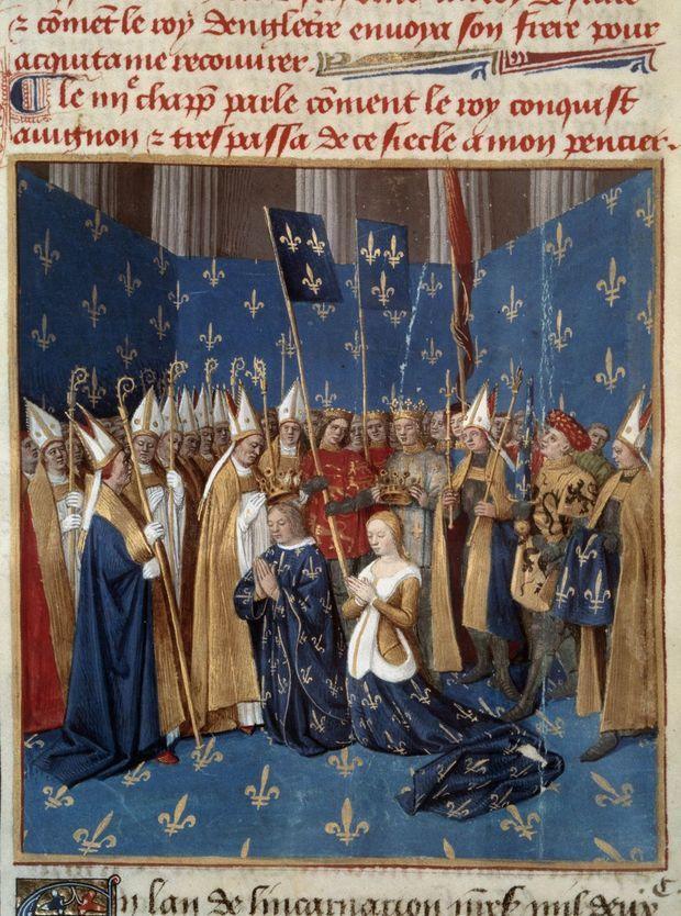 """Couronnement de Louis VIII et Blanche de Castille (manuscrit """"Les Grandes Chroniques de France"""" de Jean Fouquet. XVe siècle. Paris, B.N.)"""