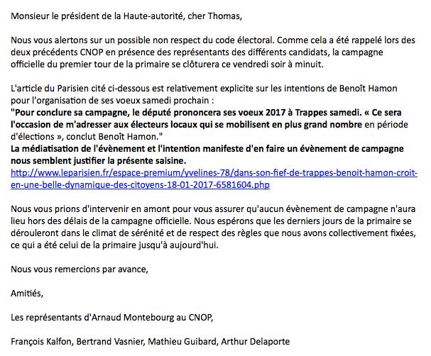 Le texte de la saisine de la Haute autorité par Arnaud Montebourg contre Benoît Hamon.