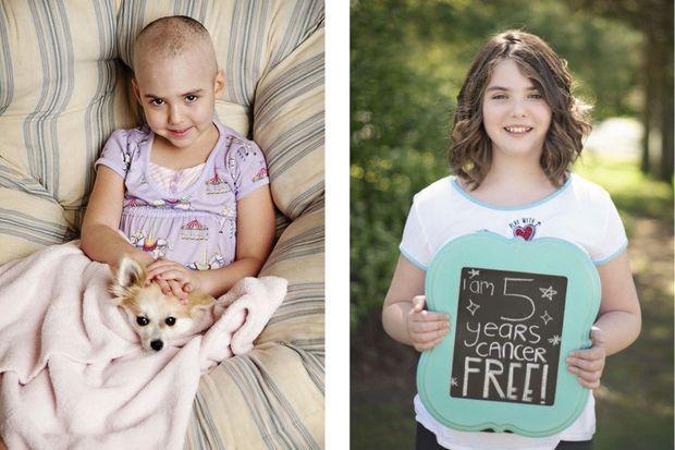 A gauche, une photo d'Emily Whitehead en 2012, après l'injection de cellules CAR-T. A droite, en 2017, la jeune Américaine est en rémission depuis cinq ans.