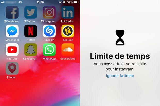 """Aperçu de la fonctionnalité """"temps d'écran"""", disponible sur iOS 12"""
