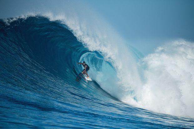 Première cession de surf après le confinement et premier tube, le 12 mai.