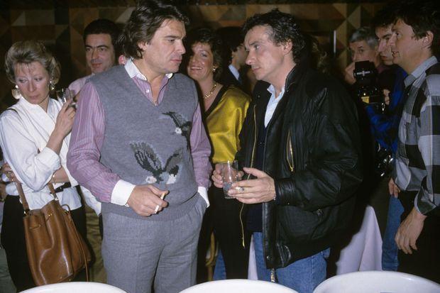 Bernard Tapie et Michel Sardou en 1986.
